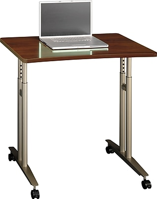 Bush Business Furniture Westfield Adjustable Height Mobile Table, Hansen Cherry, Installed (WC24482FA)