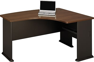 Bush Business Cubix 60W x44D Right Hand L-Bow Desk, Cappuccino Cherry/Hazelnut Brown, Installed