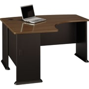 BushMD – Bureau en « L » de la collection Cubix, fini noyer Sienne/bronze