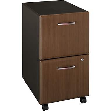 Bush® Cubix Collection 2 Drawer Mobile Pedestal File Cabinet, Walnut