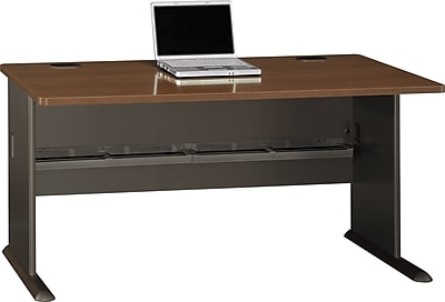 Bush Business Cubix 60W Desk, Cappuccino Cherry/Hazelnut Brown
