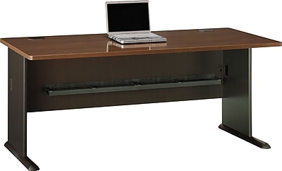 Bush Business Cubix 72W Desk, Cappuccino Cherry/Hazelnut Brown, Installed