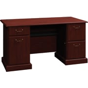 Bush Business Syndicate 60W Double Pedestal Desk, Harvest Cherry