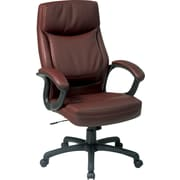 Office Star™ Leather Executive Office Chair, Mocha w/ 2-Tone Stitching, Fixed Arm (EC6582-EC9)