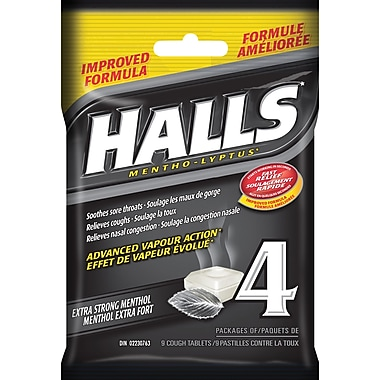 Halls Mentho-Lyptus Cough Tablets, Extra-Strong Menthol, 4/Pack