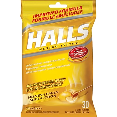 Halls Mentho-Lyptus Cough Tablets, Honey-Lemon, 30/Pack