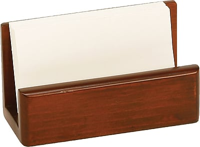 Staples MBC2-8002 Wood Desk Business Card Holder, Mahogany