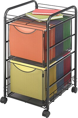 Safco® Onyx™ Mesh File Cart with 2 File Drawers, Black (5212BL)