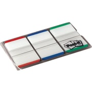 """Post-it® Tabs, 1"""" Wide, Lined, Green, Blue, Red, 22 Tabs/Color, 66 Tabs/On-the-Go Dispenser (686L-GBR)"""