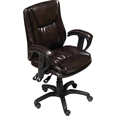 Staples® Multifunction Bonded-Leather Chair, Chestnut Brown