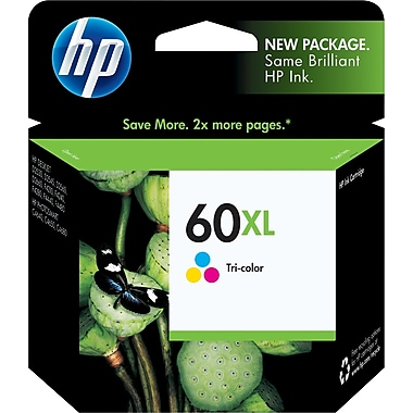 HP 60XL Tricolor Ink Cartridge (CC644WN), High Yield