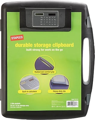 Staples® Portable Storage Clipboard with Calculator, Black, 12