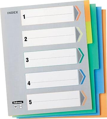 Fellowes 5-Tab Vinyl Index Tabs