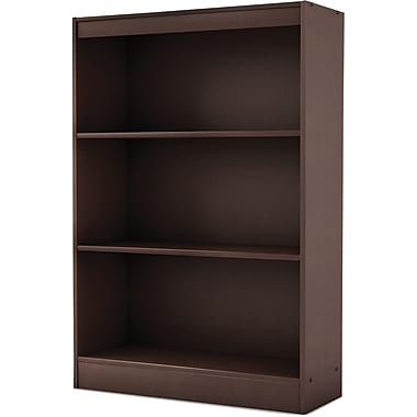 South Shore Work ID 3-Shelf Wood Bookcase, Chocolate