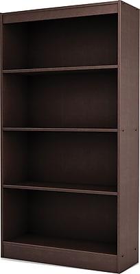 South Shore Work ID 4-Shelf Wood Bookcase, Chocolate