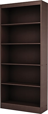 South Shore Work ID 5-Shelf Wood Bookcase, Chocolate