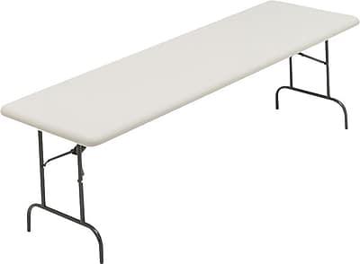 Iceberg 8' Utility-Grade Resin Folding Banquet Table, Platinum Granite
