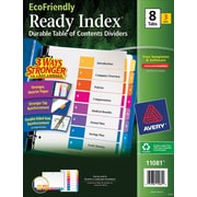 Avery(R) EcoFriendly Ready Index(R) Table of Contents Dividers 11081, 8-Tab, 3 Sets