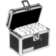 "Vaultz Locking Index Card Box, 3"" x 5"", Black"