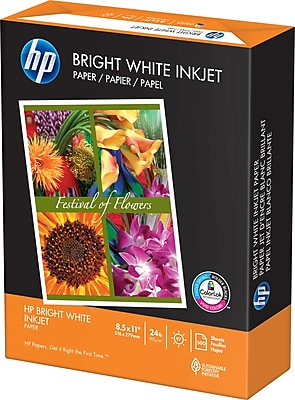 HP Bright White Inkjet Copy Paper, 8-1/2