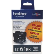 Brother LC61 Black Ink Cartridges, Twin Pack (LC612PKS)