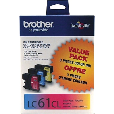 Brother LC61 Colour Ink Cartridges, Combo Pack (LC613PKS)