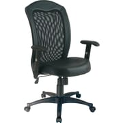 Office Star Screen-Back Leather-Seat Manager's Chair, Black