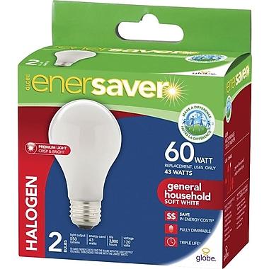 Globe - Ampoules Enersaver A19 à halogène, 43 W, blanc doux, paq./2