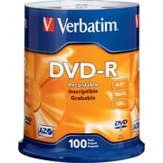 Verbatim® 4.7GB DVD-R, 16x, 100/Pack Spindle