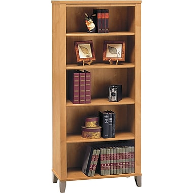 Bush® Somerset Collection 5-shelf Bookcase, Maple Cross