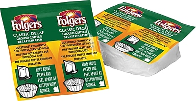 Folgers® Classic Roast® Decaf Coffee, 0.9 oz. Vacket Packs, 42/Case