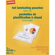 Staples Letter Size Thermal Laminating Pouches, 3 mil