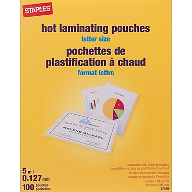 staples pochettes de plastification heatseal 5 mil format lettre paq 100 staples. Black Bedroom Furniture Sets. Home Design Ideas