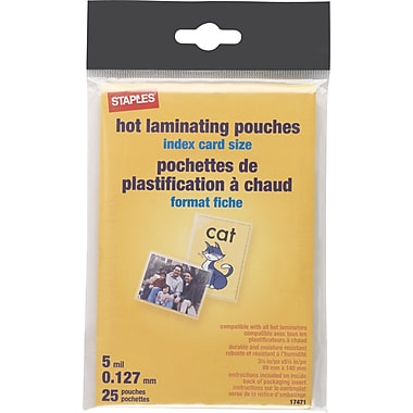 Staples 5 mil Index Card Size Thermal Laminating Pouches, 25 pack