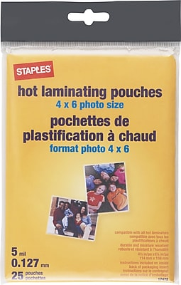 Staples 5mil Photo Size Thermal Laminating Pouches, 25/Pack (17472)