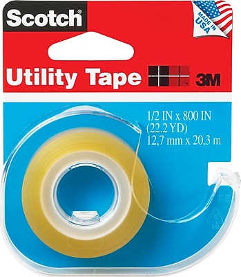 Scotch® Transparent Utility Tape with Built-in Refillable Dispenser, 1/2