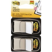 "Post-it® Flags with Pop-Up Dispenser, 1"" Wide, White, 100 Flags/Pack (680WE2)"