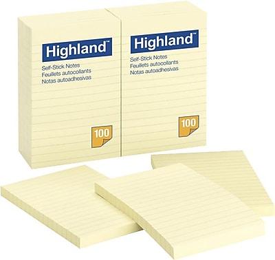 Highland™ Notes, Original Pad, Ruled, Yellow, 4