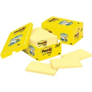 "Post-it® Original Pad Notes, 3"" x 5"", Canary Yellow, 18/Pk"