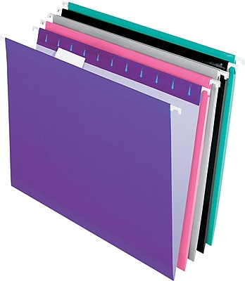 Pendaflex® Reinforced Hanging File Folders, 5 Tab Positions, Letter Size, Assorted Jewel-Tone Colors, 25/Box (4152 1/5 ASST2)