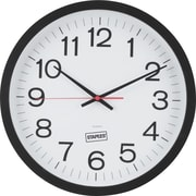 "Staples® 14"" Quartz Wall Clock, Matte Black Case"