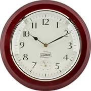 "Staples® 12.5"" Round Quartz Wall Clock, Wood Case"