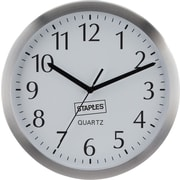 "Staples® Wall Clock 10"" Aluminum Round"