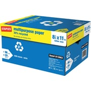 "Staples 30% Recycled Multipurpose Paper, 20 Lb., 96 Bright, 8 1/2"" x 11"", White, 10-Ream Case (86035)"