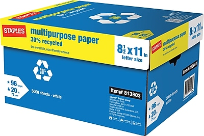 Staples 30% Recycled Multipurpose Paper, 20 Lb., 96 Bright, 8 1/2