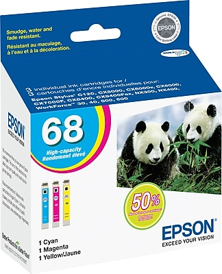 EPSON® 68 Tri-Color High-Yield Ink Cartridge Multi-pack (3 cart per pack)