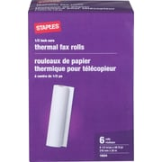 "Staples® Thermal Fax Paper, White, 98'L x 8 1/2""W, 6 Rolls/Ct"