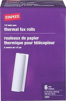Staples® Thermal Fax Paper, White, 98'L x 8 1/2
