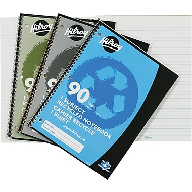 Hilroy 1-Subject Recycled Notebooks, Assorted