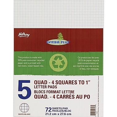 Hilroy – Tablettes de calcul Enviro Plus, 8 3/8 po x 10 7/8, quadrillé, blanc, 72 feuilles, paq./5